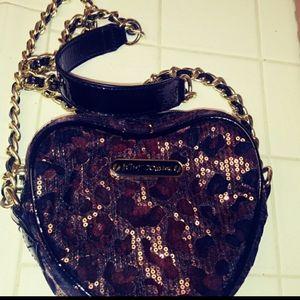 Betsey Johnson Heart Shape Sequence Handbag